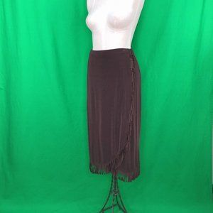 Choices Petite L Brown Fringed Midi Skirt Slinky